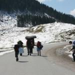 Kindergruppe wandert in einer winterlichen Landschaft