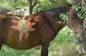 Pferd mit bemalten Rücken (Sonne)