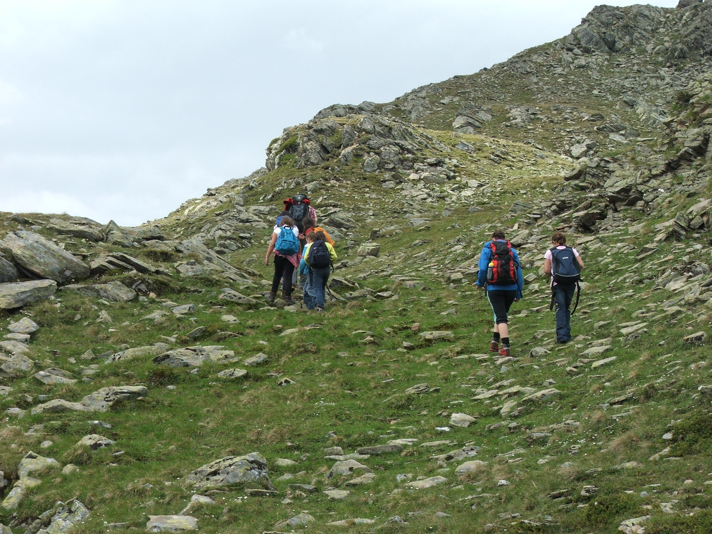 wandernde Kinder in den Bergen