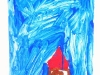 Bunte Kinderzeichnung Haus mit viel Himmel