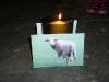 Foto von einem Schaf brennende Kerze im Hintergrund