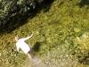 Kind badet im Fluß